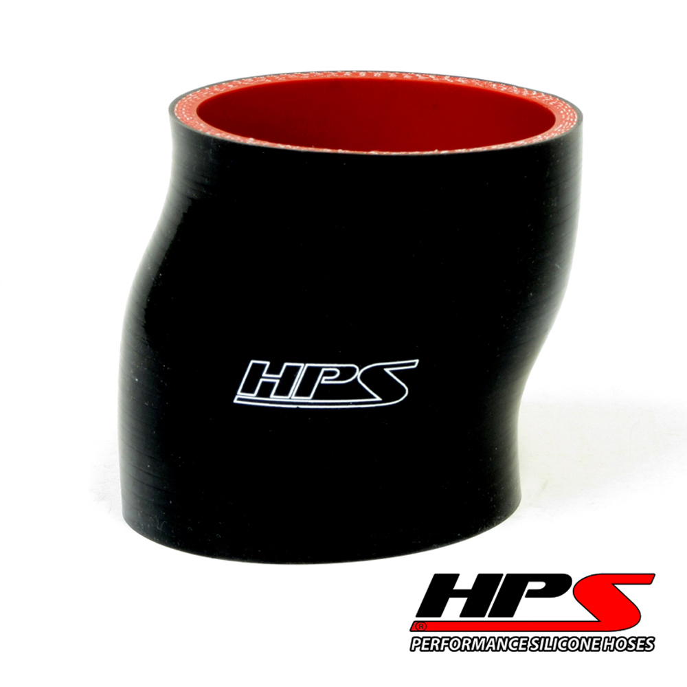 HPS High Temp 4-ply Reinforced 2.25 ID x 3 Long Silicone Offset Coupler Hose Black (57mm ID x 76mm Length)