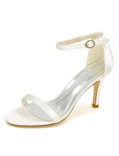 Milanoo Zapatos de novia de saten 8.5cm Zapatos de Fiesta Zapatos Color champaña de tacon de stiletto Zapatos de boda de puntera abierta