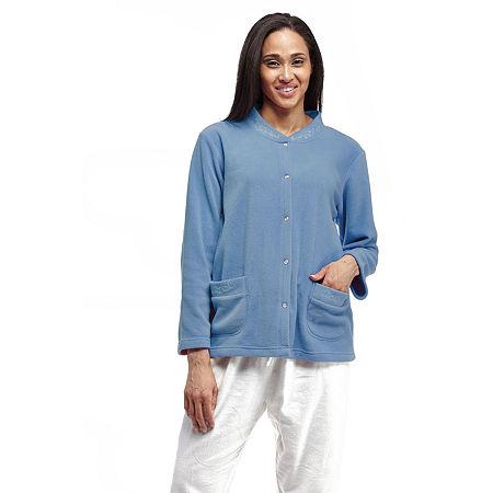 La Cera Snap Front Bedjacket, Medium , Blue