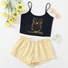 Owl Print Cami Top & Knot Detail Gingham Shorts PJ Set