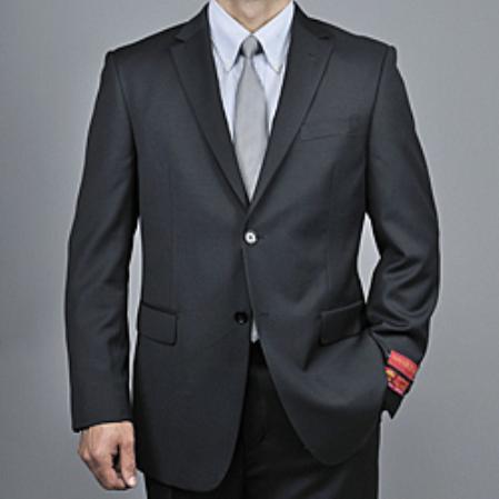 Mens Black Wool 2button Suit