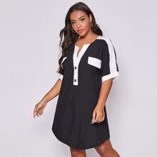 Kleid mit halben Knopfen, Farbblock und gebogenem Saum