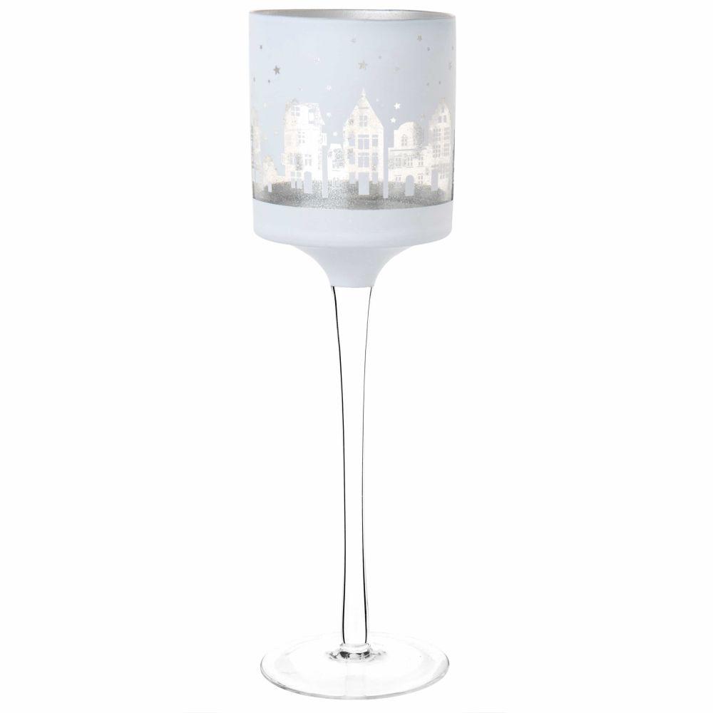 Windlicht mit Fuss aus Glas, grau, bedruckt mit Stadtmotiv