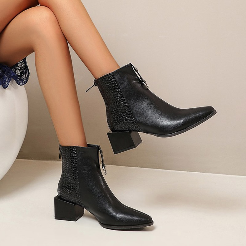 Ericdress Pointed Toe Block Heel Back Zip Zipper Boots