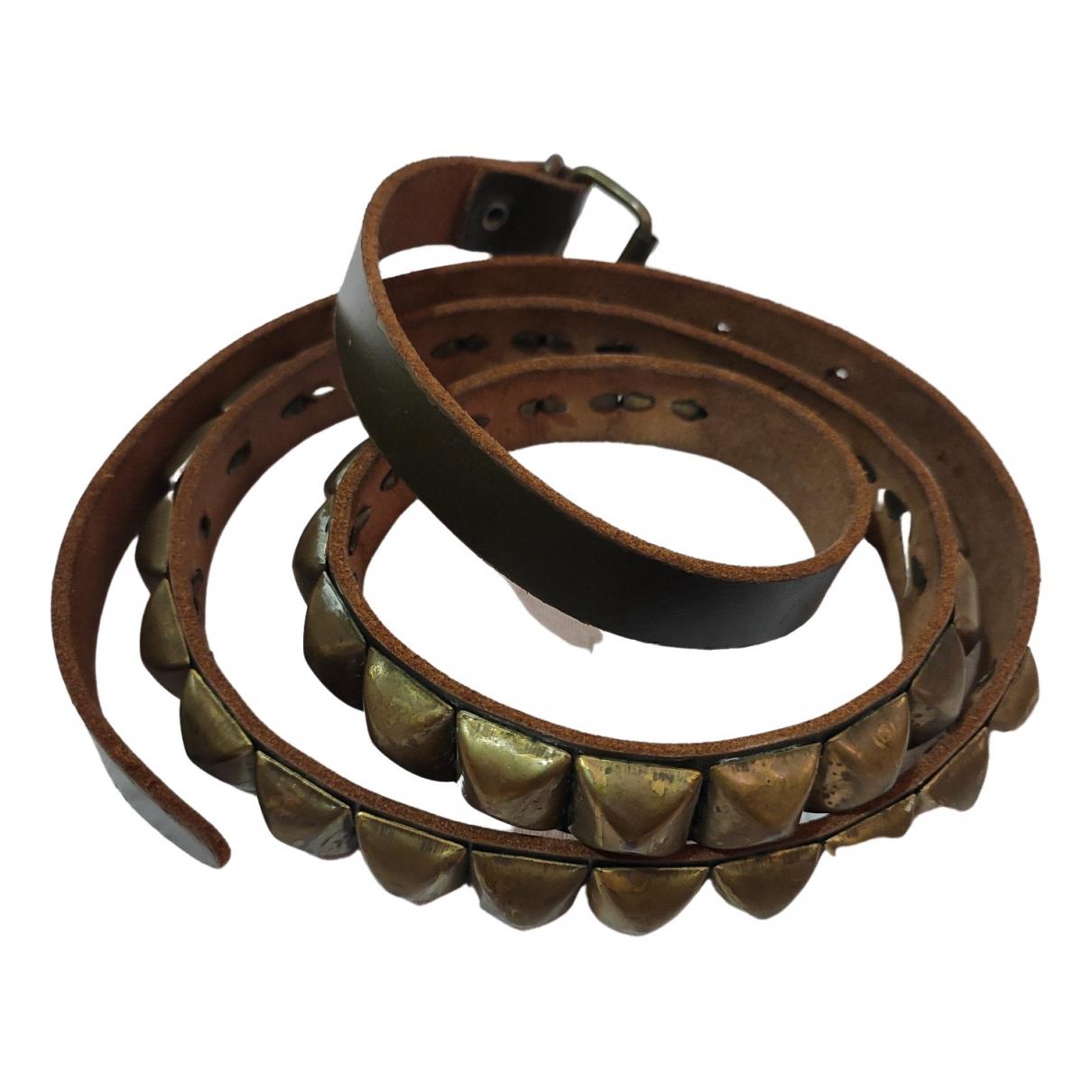 Non Signé / Unsigned \N Khaki Leather belt for Women M International