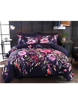 Designer 60S Brocade Flower Printing Pastoral Style 4-Piece Polyester Bedding Sets/Duvet Cover