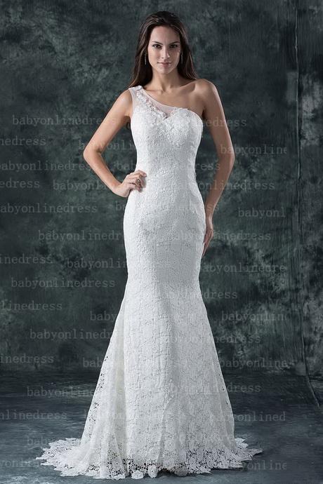 Elegantes vestidos de novia de encaje con cremallera lateral sin espalda y un hombro de sirena con tren de corte