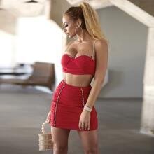 Rhinestone Ruched Bustier Top & Skirt Set