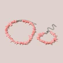2pcs Simple Beaded Necklace & Bracelet