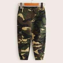Toddler Girls Flap Pocket Camo Print Cargo Pants