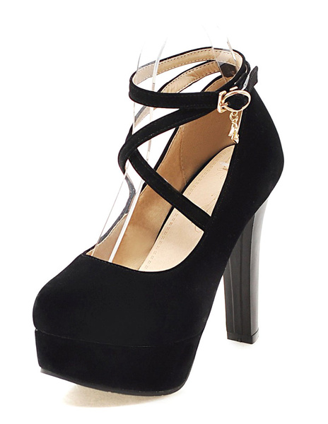 Milanoo Suede Platform Shoes Round Toe Criss Cross Ankle Strap Pumps