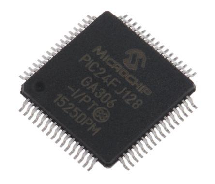 Microchip PIC24FJ128GA306-I/PT, 16bit PIC Microcontroller, PIC24FJ, 32MHz, 128 kB Flash, 64-Pin TQFP