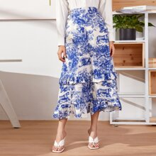 Landscape Print Ruffle Trim Skirt