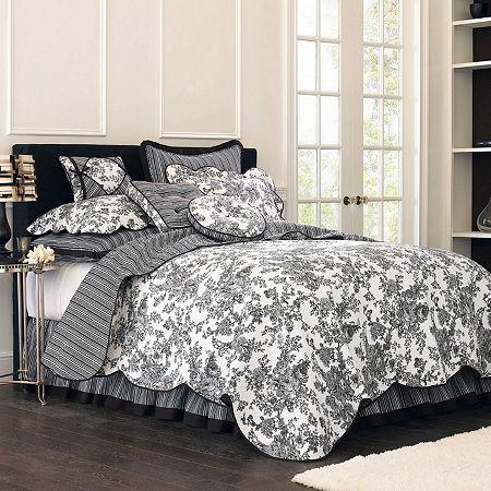 Toile Garden Quilt, One Size , Black