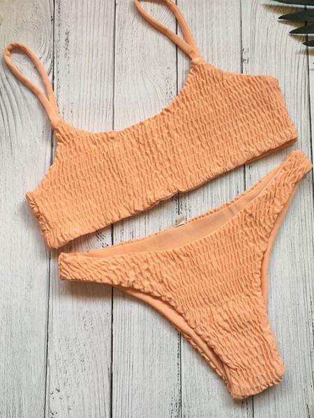 Milanoo Sexy Bikini Swimsuit Bandeau Green Ruched Women Beach Bathing Suit