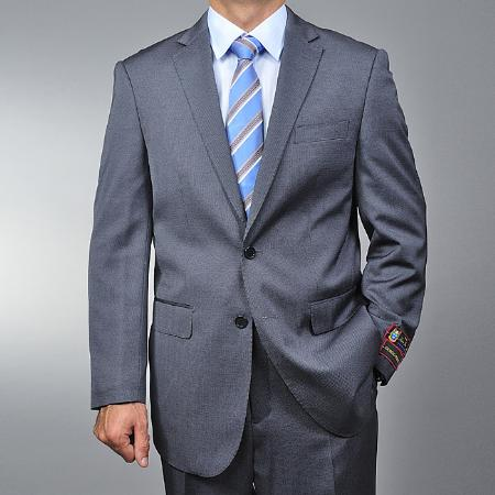 2 Button Grey Teakweave Suit Mens Cheap
