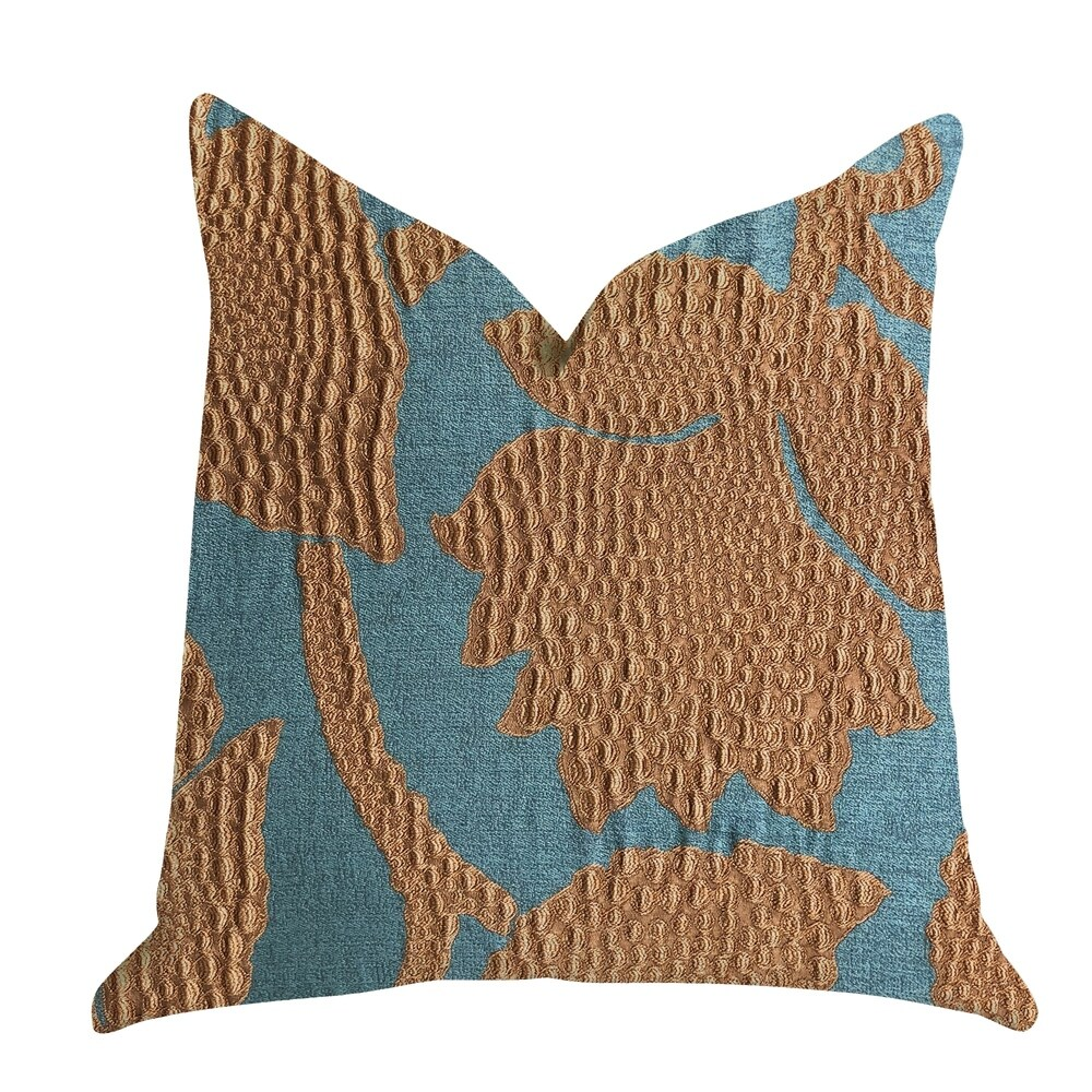Plutus Golden Arabella Vine in Green and Bronze Tones Luxury Decorative Throw Pillow (Square - double sided 24