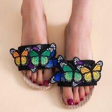 Hausschuhe mit Schmetterling Applikation