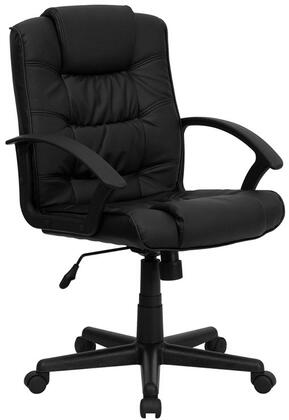 GO-937M-BK-LEA-GG Mid-Back Black Leather Office