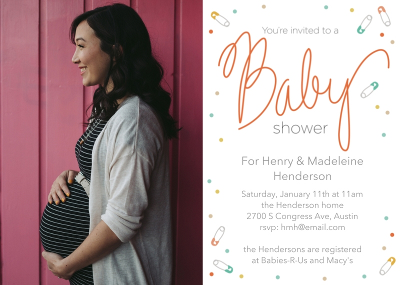 Baby Shower Invitations 5x7 Cards, Premium Cardstock 120lb, Card & Stationery -Confetti Cheer