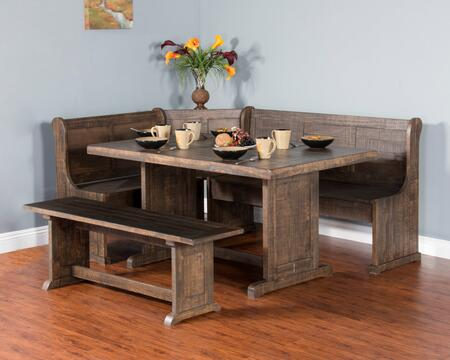 Homestead Collection 0113TL 3-Piece Breakfast Nook Set with Side Bench  L-Shaped Bench and Table in Tobacco