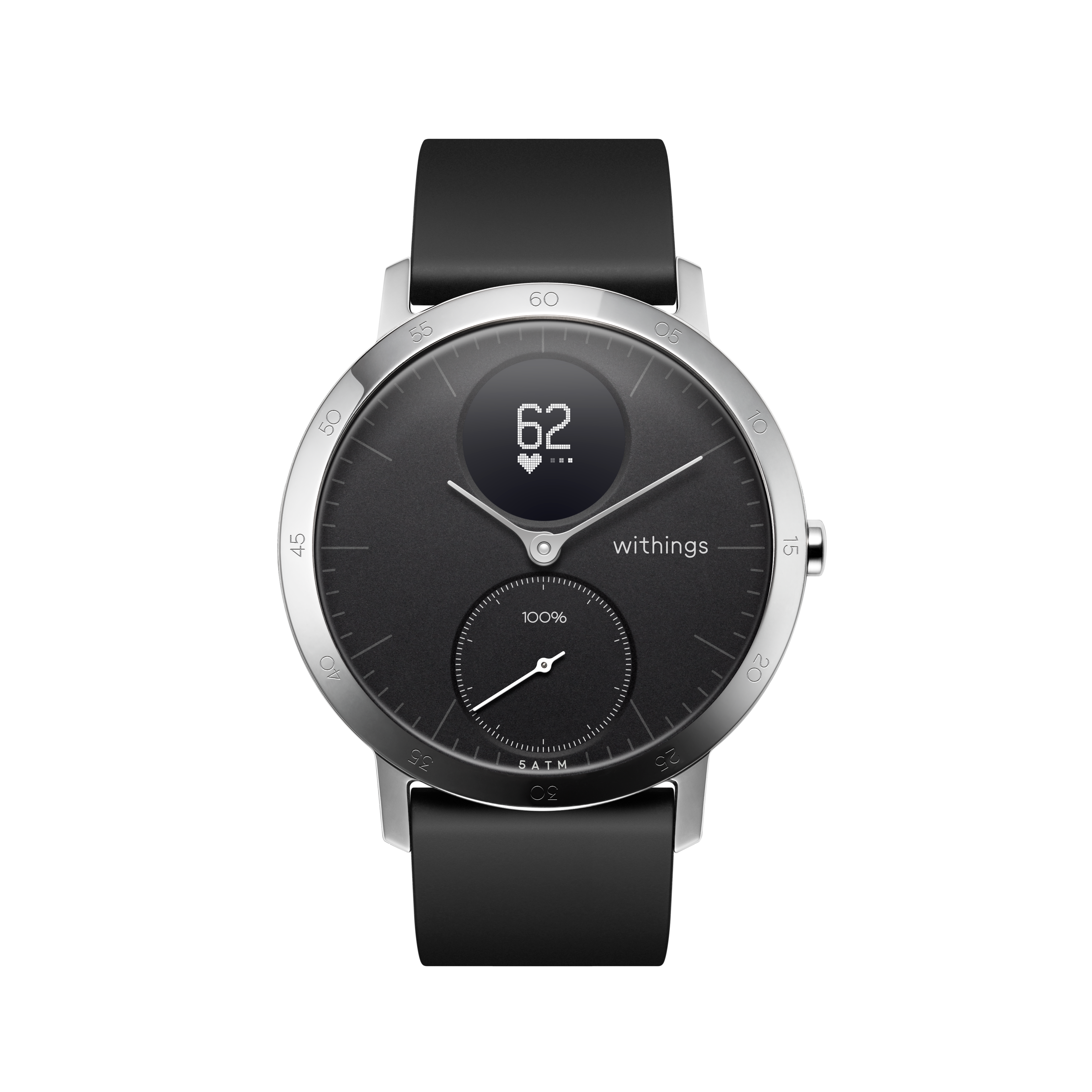 Withings Steel HR (Nokia), 40mm, Noir - Montre connectee hybride - Rythme cardiaque, Notifications - Boutique Officielle Withings