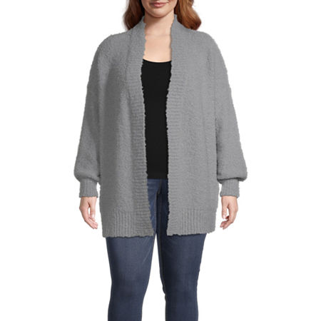a.n.a-Plus Womens Open Front Cardigan, 2x , Gray