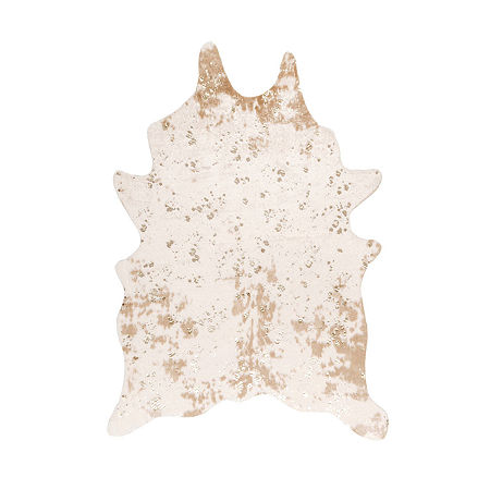 nuLoom Iraida Faux Cowhide Rectangular Rug, One Size , White