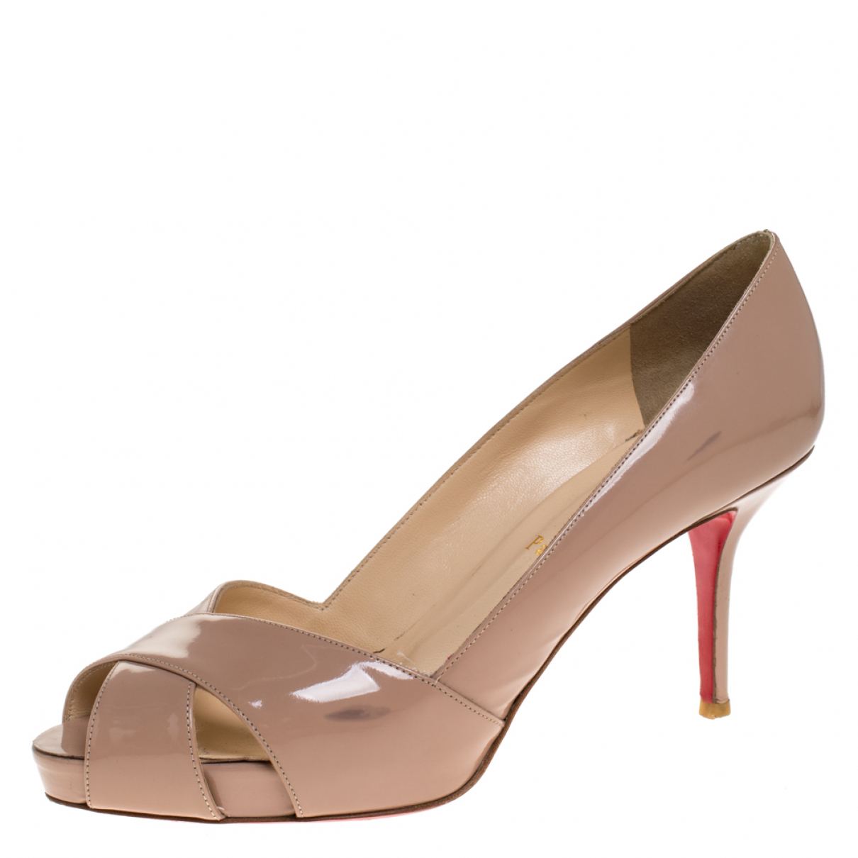 Christian Louboutin N Beige Patent leather Sandals for Women 8.5 US