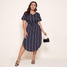 Plus Vertical Striped Curved Hem Belted Dress