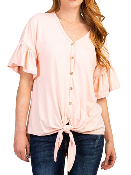 Milanoo Short Sleeves Tees V Neck Button Up Knotted Women T Shirt