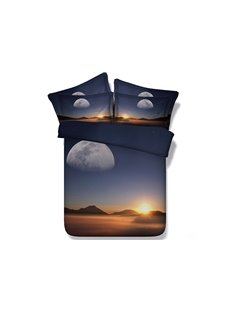 Sunset Scenery Printed Cotton 4-Piece 3D Bedding Sets/Duvet Covers