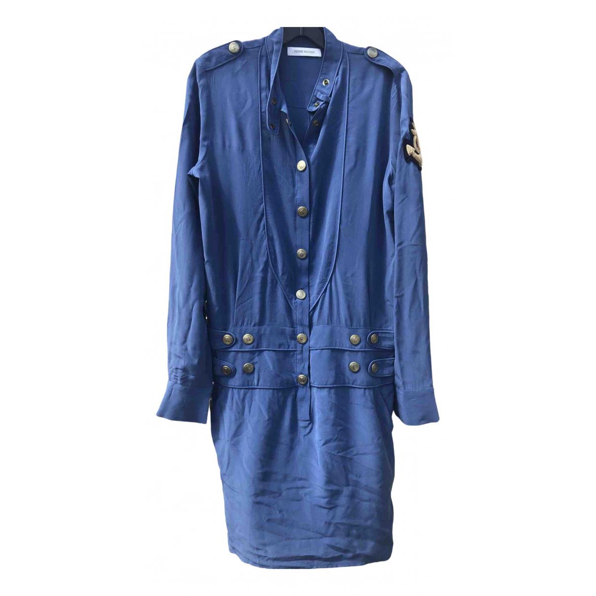 Pierre Balmain \N Kleid in  Blau Seide
