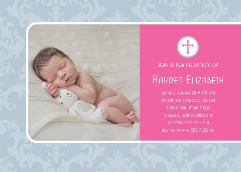 Baptism Invitations 5x7 Cards, Premium Cardstock 120lb, Card & Stationery -Damask Baptism by Posh Paper