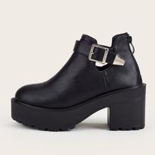 Buckle Decor Chunky Heeled Boots