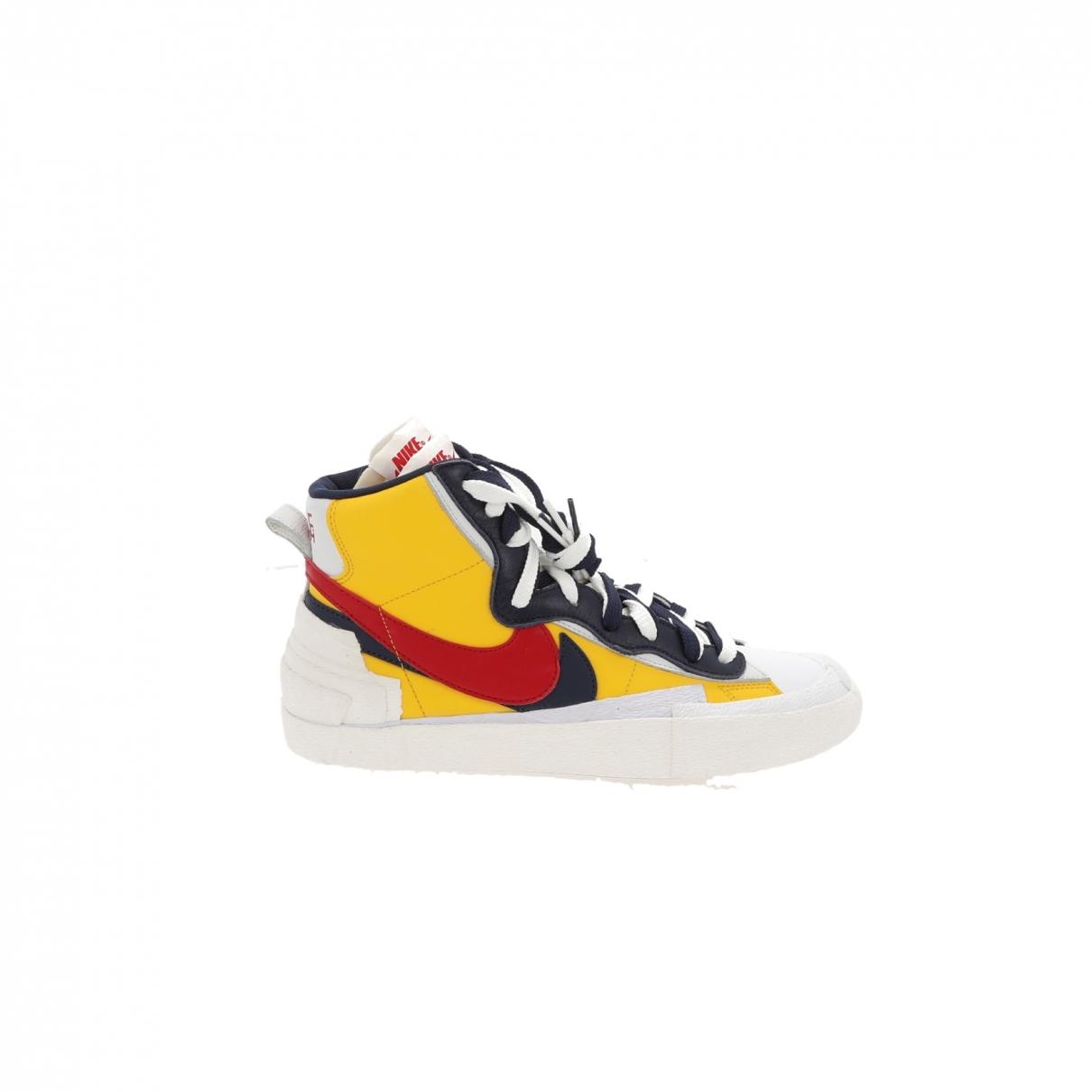 Nike X Sacai Blazer Mid Sneakers in  Gelb Leder