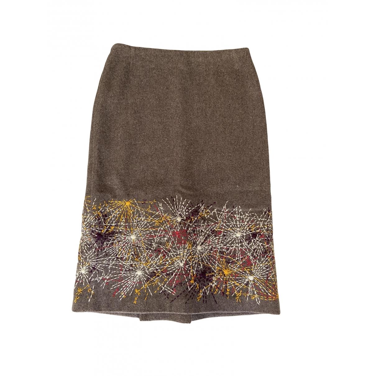 Dries Van Noten - Jupe   pour femme en laine - marron