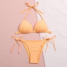 Halter Triangle Tie Side Bikini Swimsuit