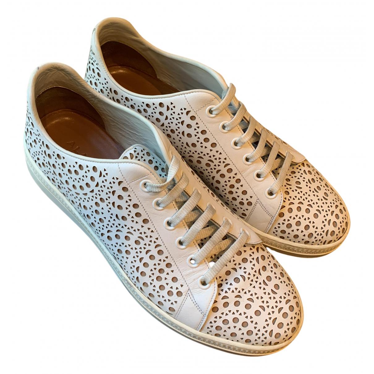 Alaia - Baskets   pour femme en cuir - blanc