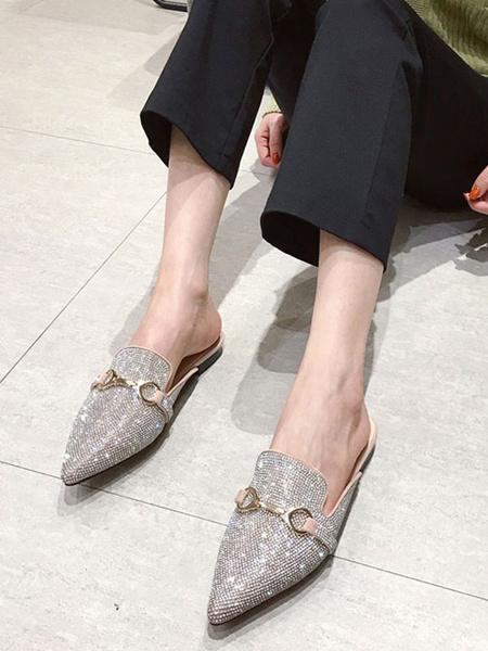 Milanoo Zapatillas de punta plana con punta de cristal Zapatos de mujer