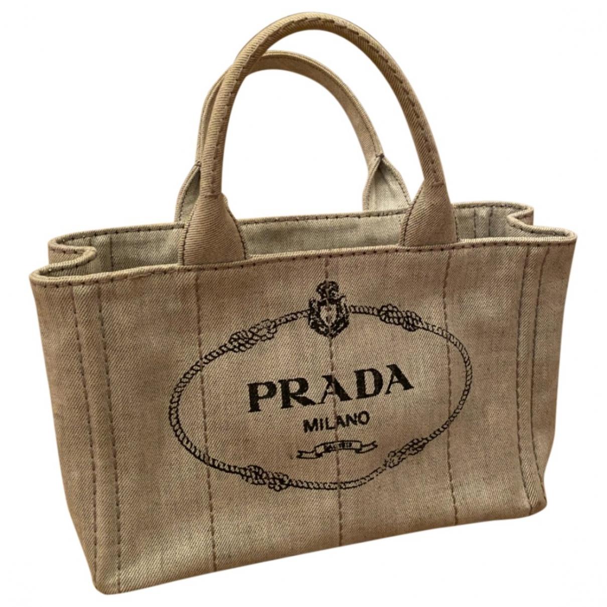 Prada - Sac a main   pour femme en toile - gris