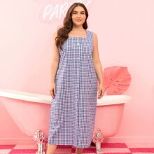 Plus Gingham Button Front Nightdress