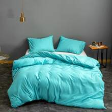 Einfarbige Bettwaesche Set ohne Fuellstoff