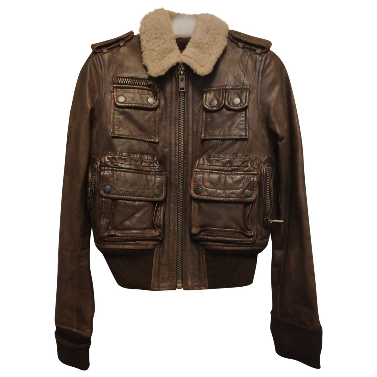 Non Signé / Unsigned \N Brown Leather Leather jacket for Women XS International