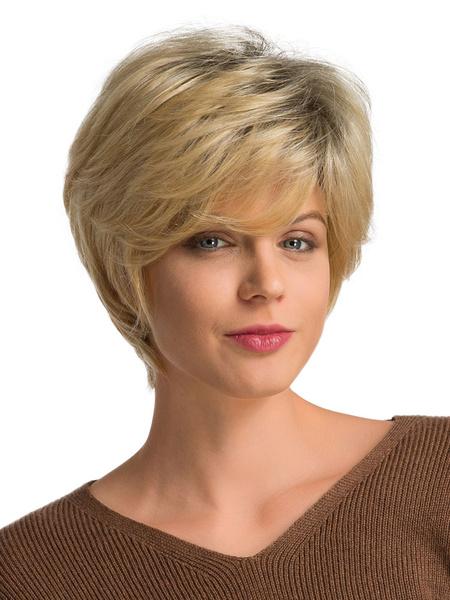 Milanoo Pelucas de cabello humano Pelucas de cabello corto rubio para mujeres