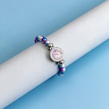 Girls Round Decor Beaded Bracelet