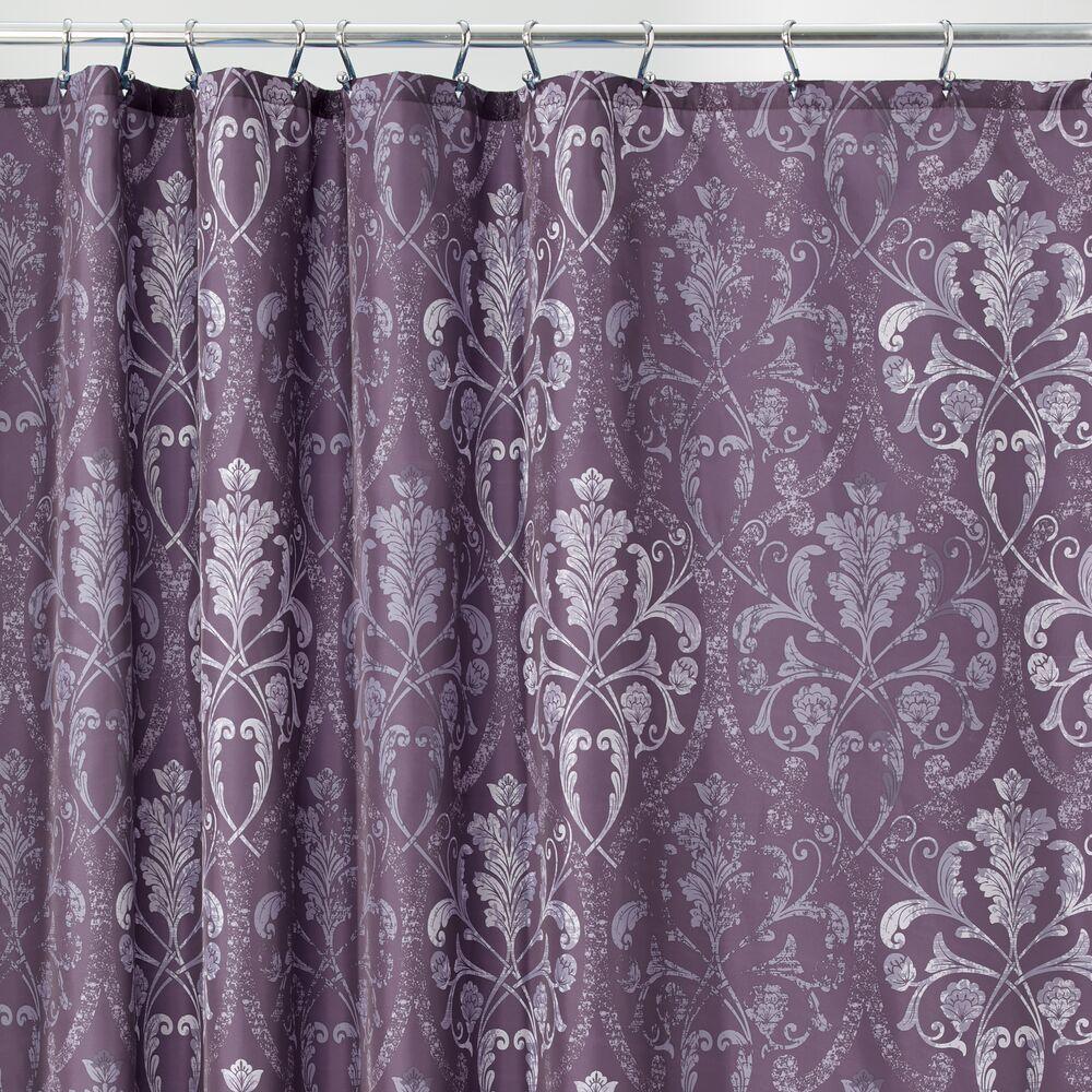 mDesign Decorative Print Fabric Shower Curtain in Purple, 72