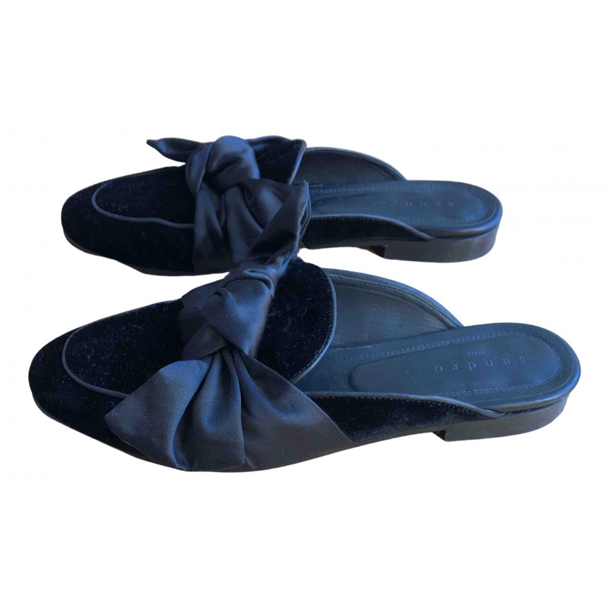 Sandro N Black Velvet Flats for Women 39 EU