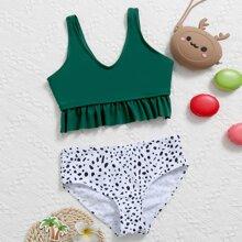 Girls Dalmatian Ruffle Hem Bikini Swimsuit