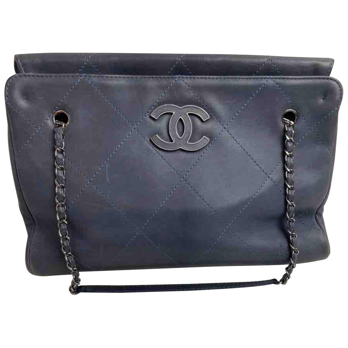 Chanel Grand shopping Handtasche in  Grau Leder